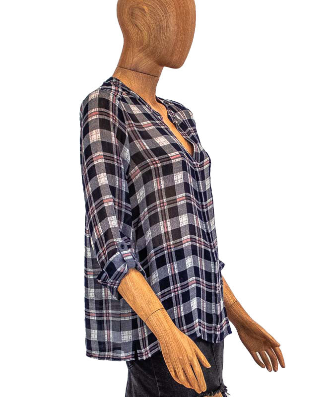 Sheer Plaid Print Blouse