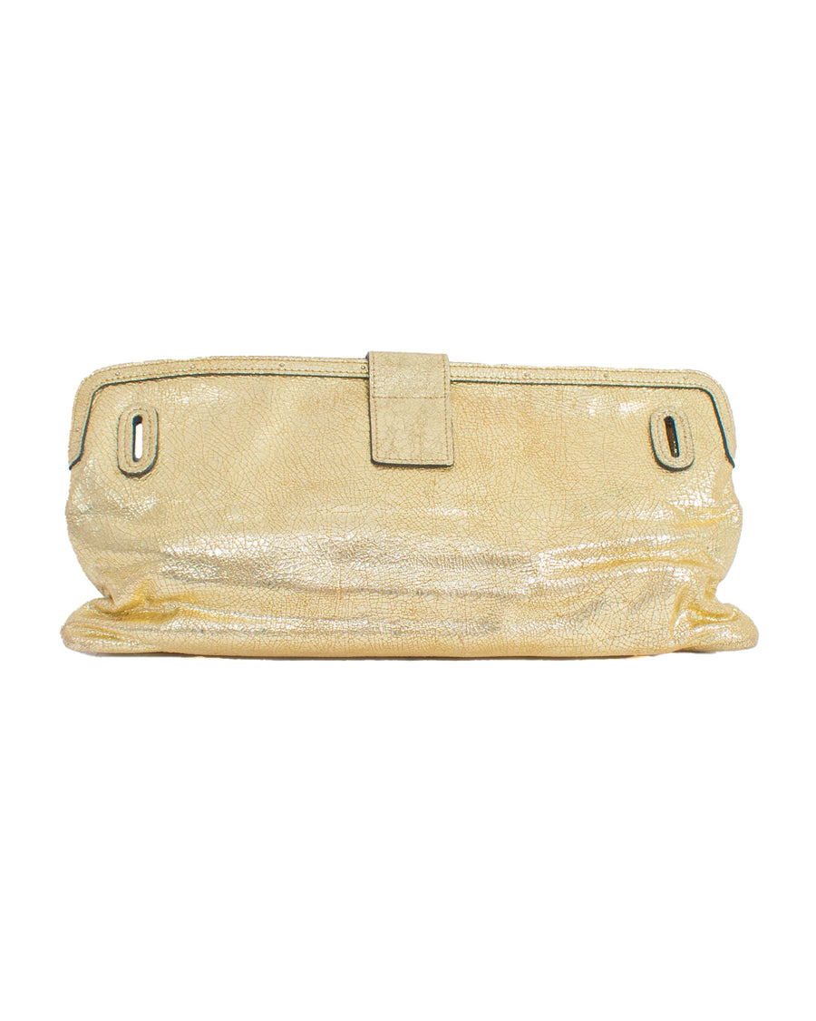 Gold Metallic Textured Leather Clutch
