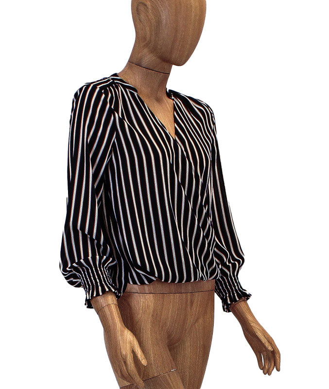 Stripe Henley Crossover Blouse