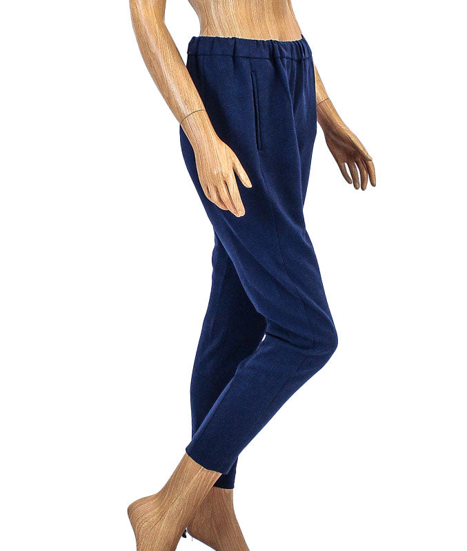 Elastic Band Work Pants with Pockets