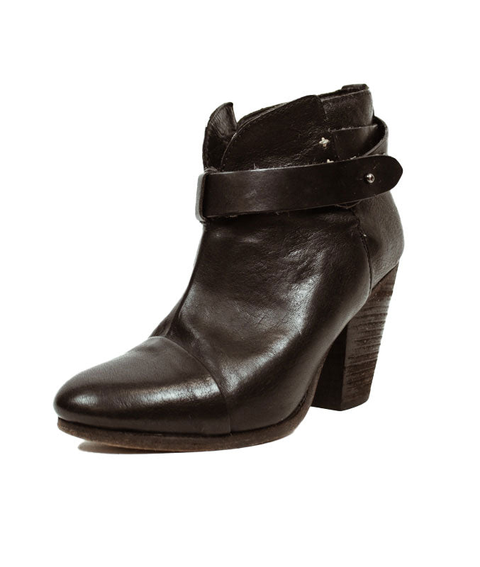 Black Leather Harlow Ankle Boot