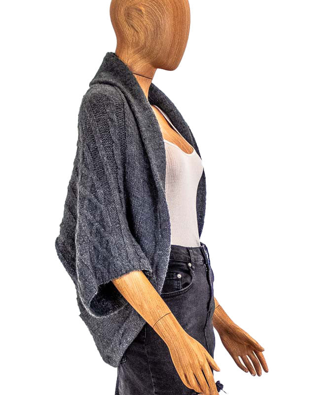 Grey Knit Open Cardigan