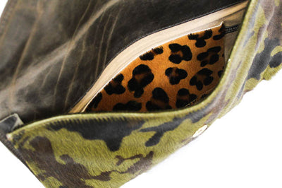 "Leather Envelope ""Chapa"" Clutch in Army Cow Hair"