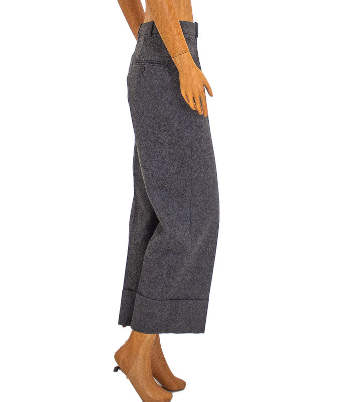 Heather Grey Wide Leg Cropped Trousers