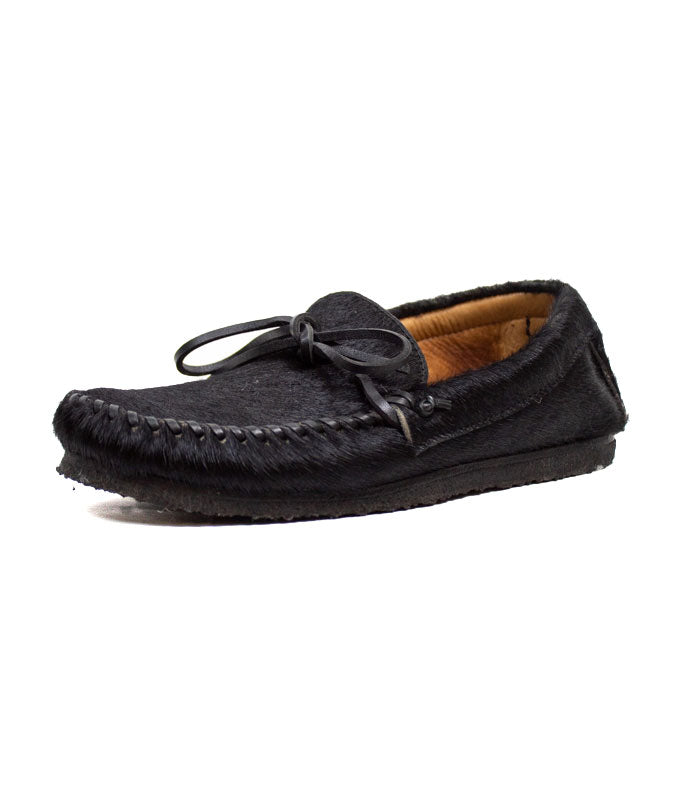 Black Calf Hair Loafers