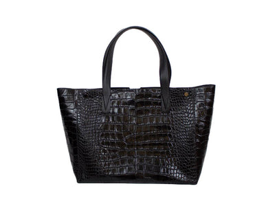 Embossed Croc Leather Tote Bag