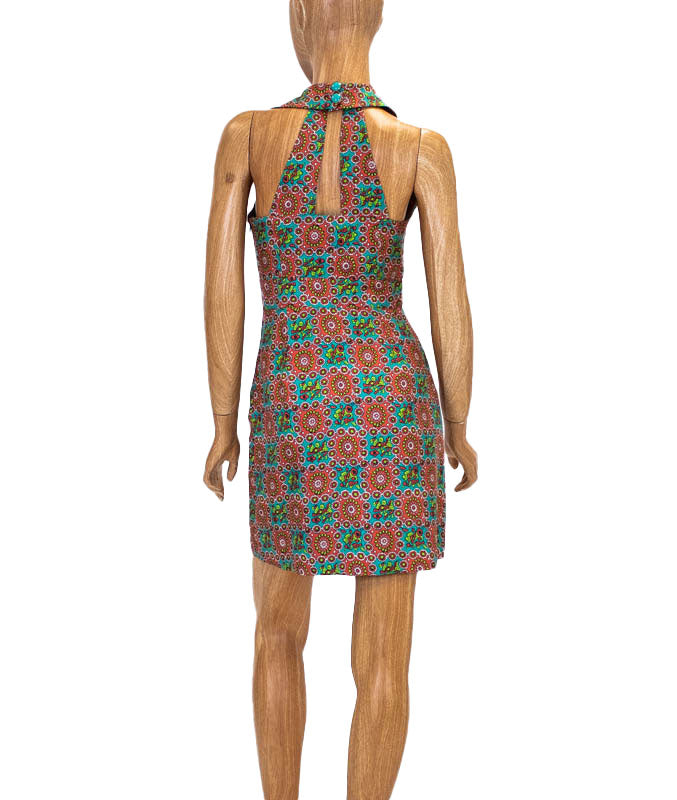 Printed Silk Halter Dress