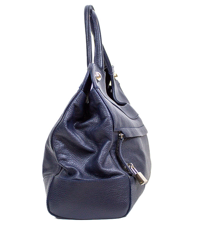 Navy Grained Leather Purse