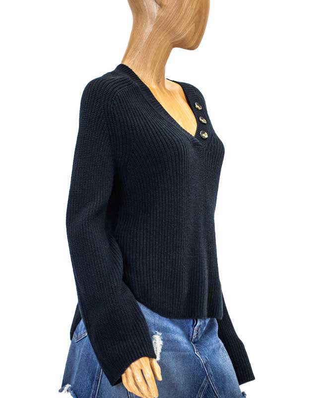 Navy Rib V-Neck Sweater