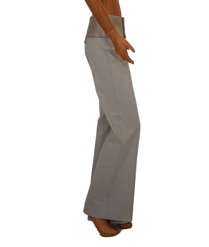 Khaki Mid-Rise Flare Trousers with Leather Trim