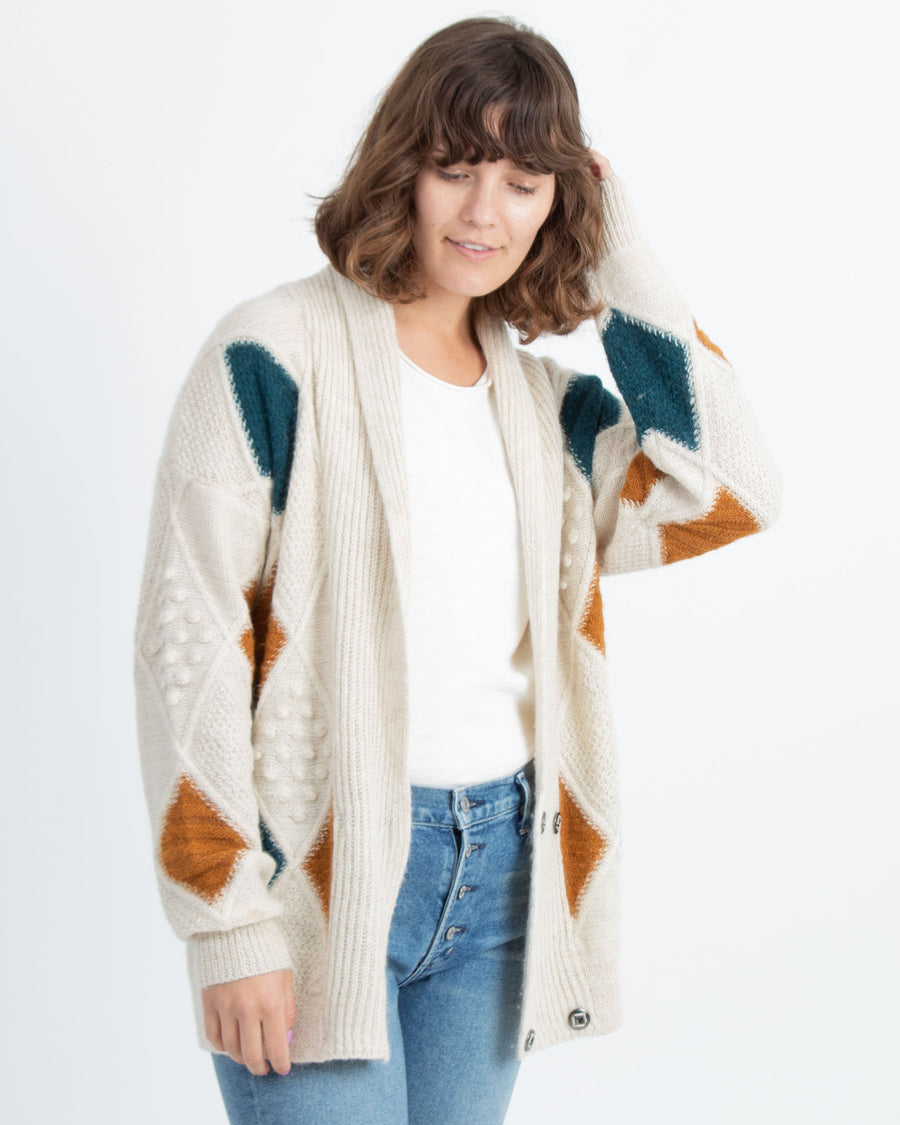 Geometric Cable Knit Cardigan