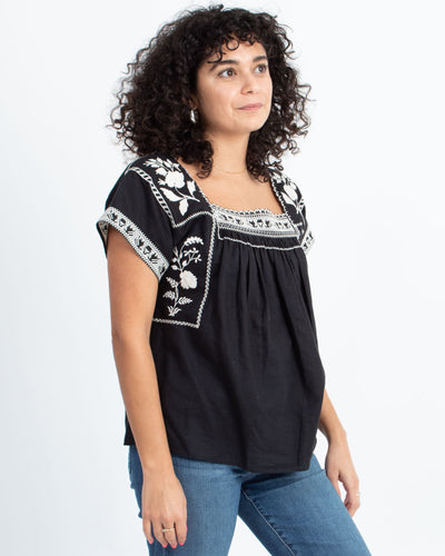 Black Embroidered Short Sleeve Blouse