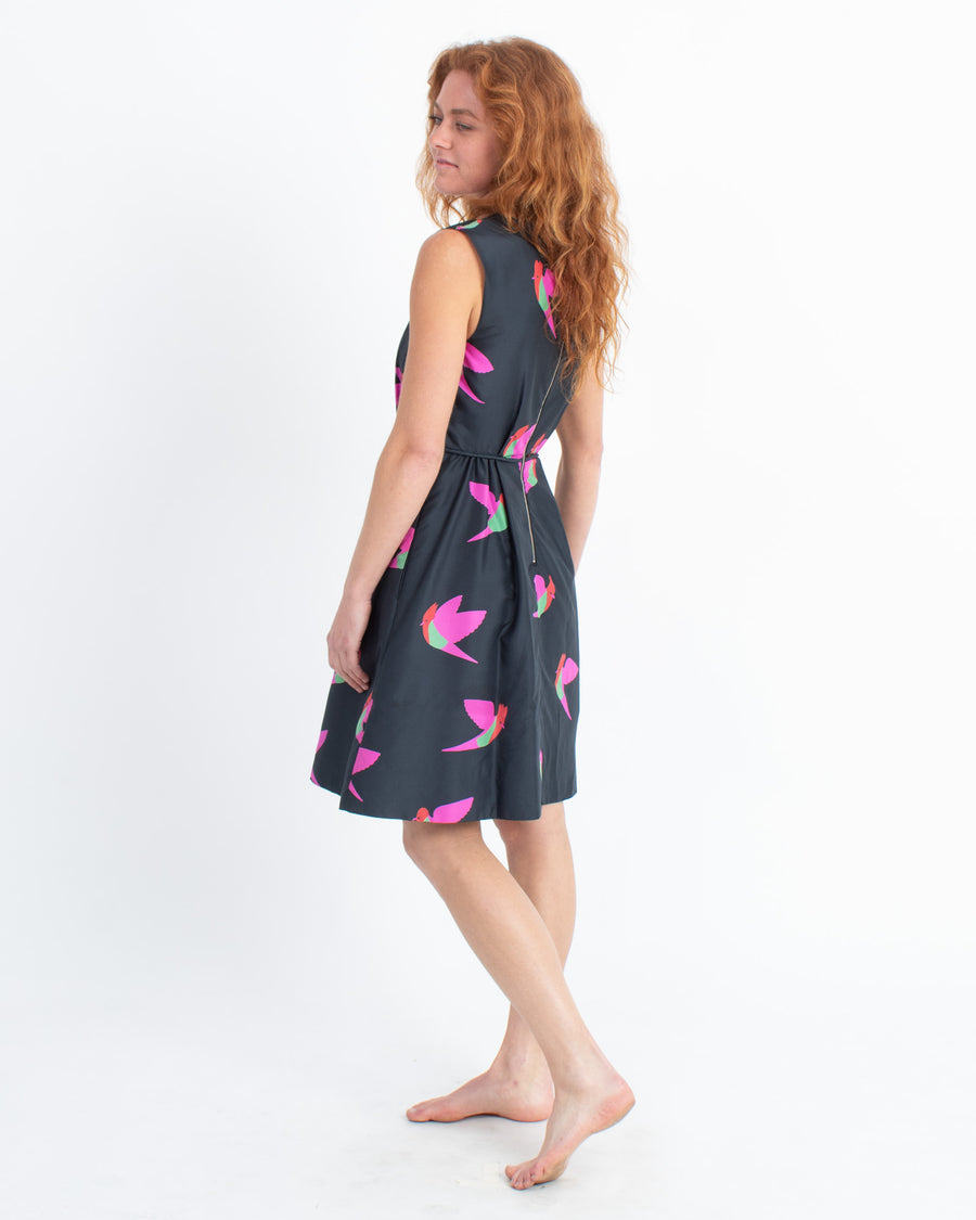 Bird Print Cocktail Dress