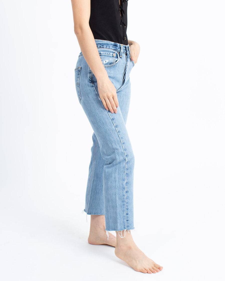 High-Rise Cropped Wide Leg Jeans