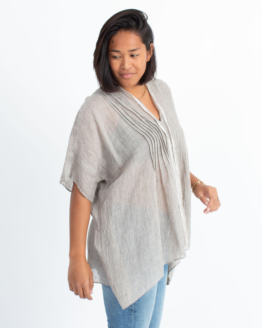 Semi-Sheer Linen Blouse