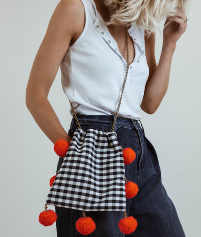 Gingham Pom Pom Crossbody Bag