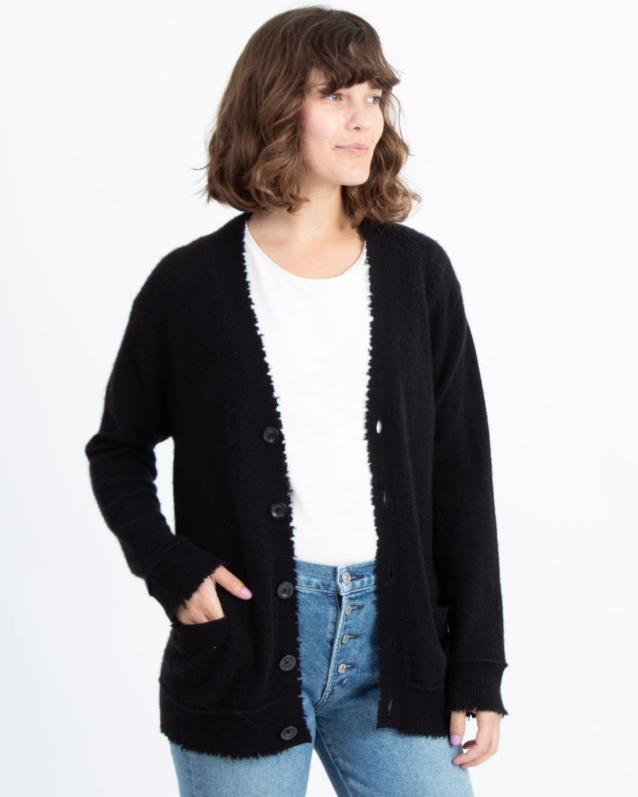 Black Cashmere Open Cardigan