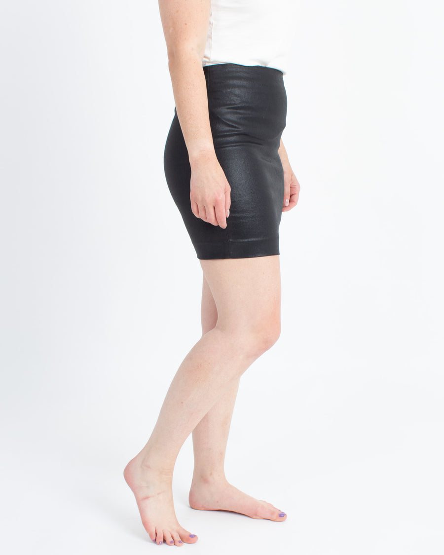 Coated Black Pencil Skirt
