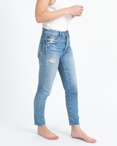 High-Rise Distressed Jeans