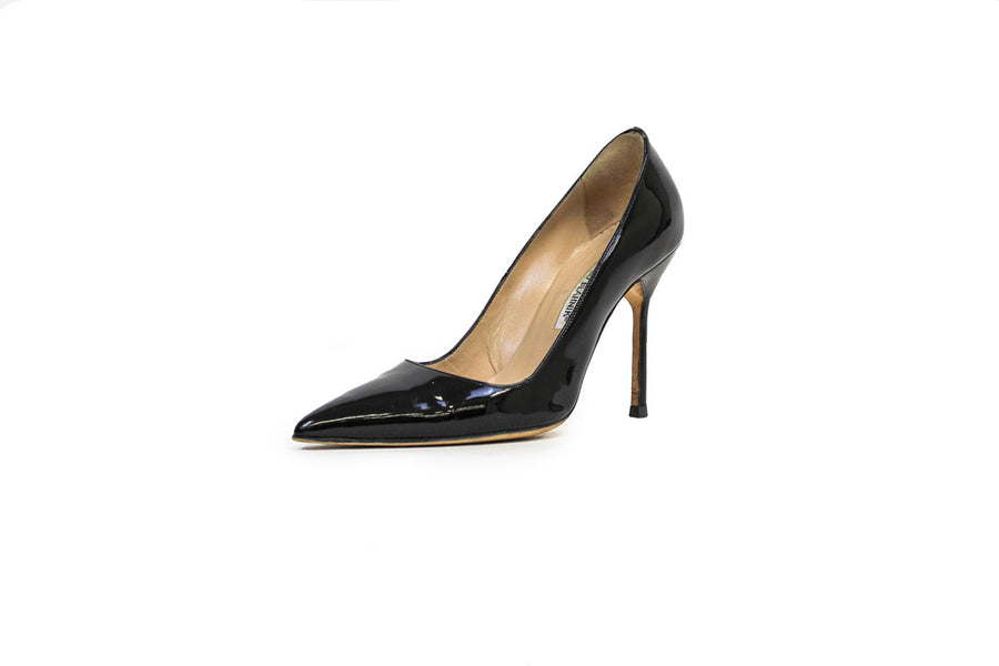Patent Black Pointed-Toe Pumps