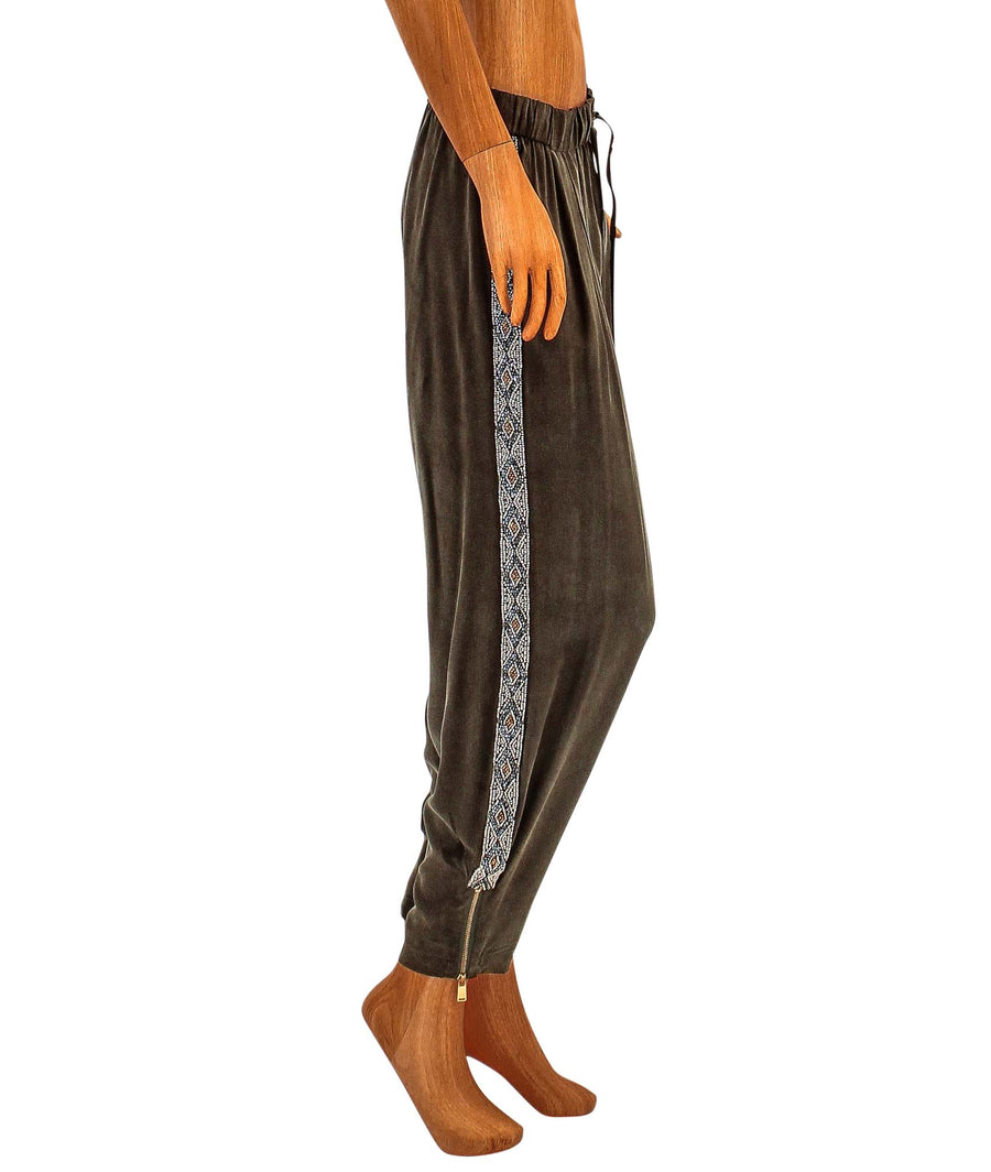 Silk Sweatpant with Embellished Racer Stripe