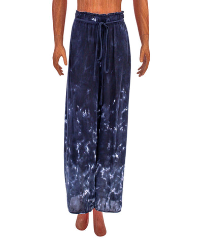 Silk Wide-Leg Cropped Pant with Pockets