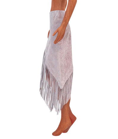 Knee Length Suede Fringe Skirt