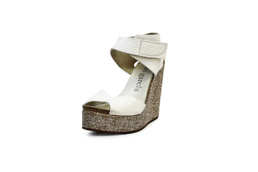 White Leather Wedges