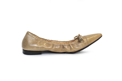 Leather Pointed Toe Ballet Flats