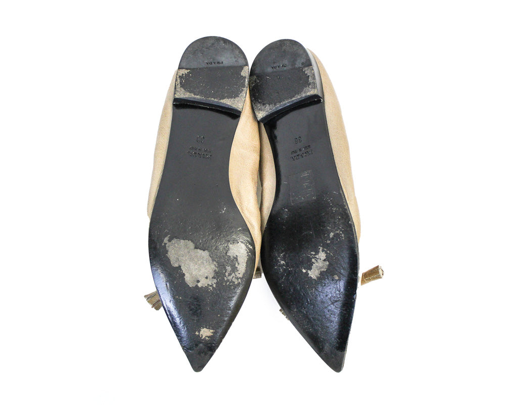 Leather Pointed Toe Ballet Flats - The
