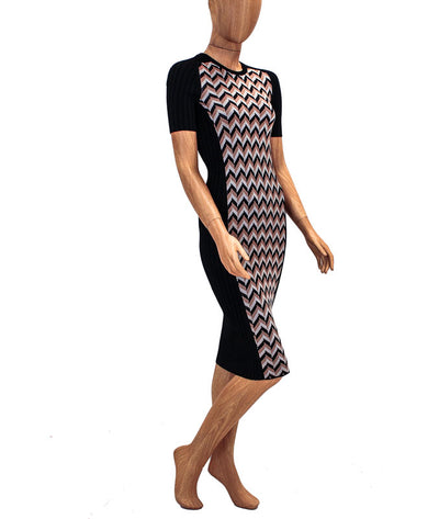 Chevron Fitted Midi Dress
