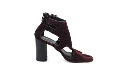 Burgundy Suede Block Heel Sandals