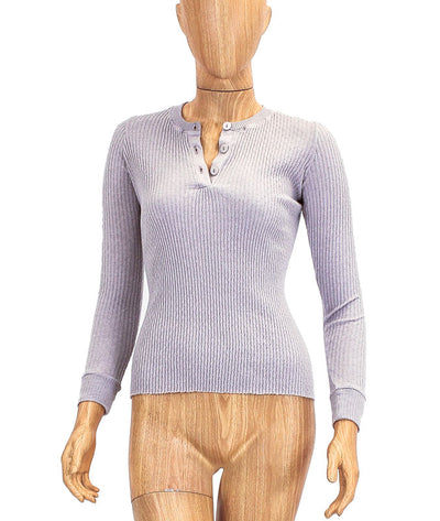 Texured Long Sleeve Henley Tee