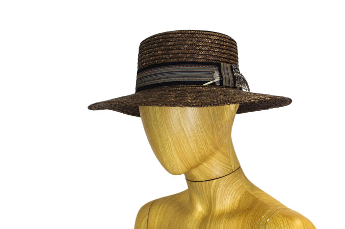 Wide Brim Flat Top Straw Hat