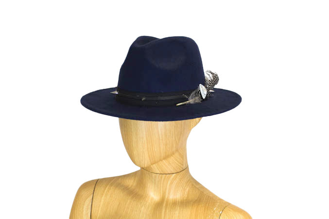 Navy Studded Wide Brim Hat