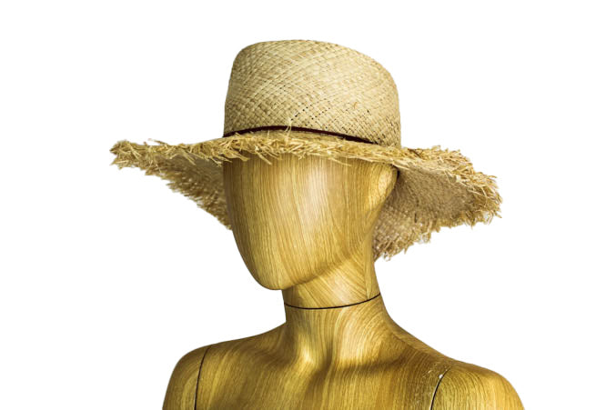 Frayed Floppy Brim Straw Hat
