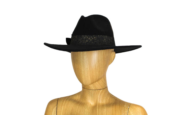 """Navajo"" Black Wide Brim Hat"