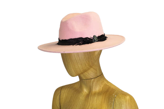 Pale Pink Wide Brim Hat