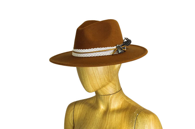 Camel Colored Wide Brim Hat
