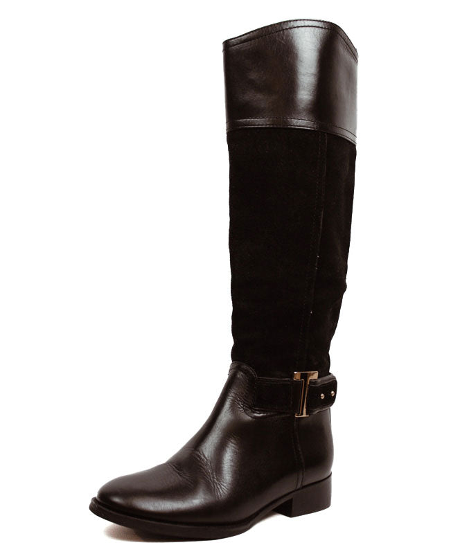 Black Leather and Suede Riding Boots