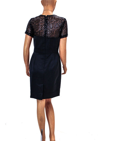 Structured Black Dress with Sheer Sequined Chest