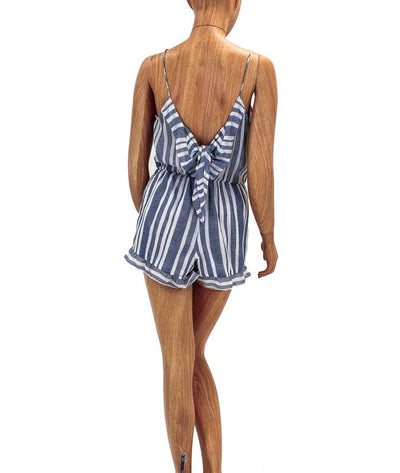Spaghetti Strap Striped Romper