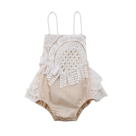 PREORDER Cut to the Lace Baby Girl Romper