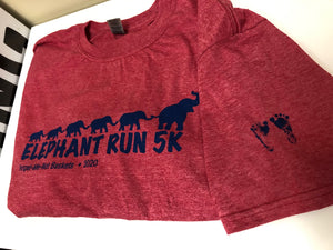 Elephant Run 2020 Short Sleeve Tshirt with footprints on sleeve