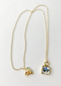 Square forget me not dainty necklace -  gold, silver, or rose gold