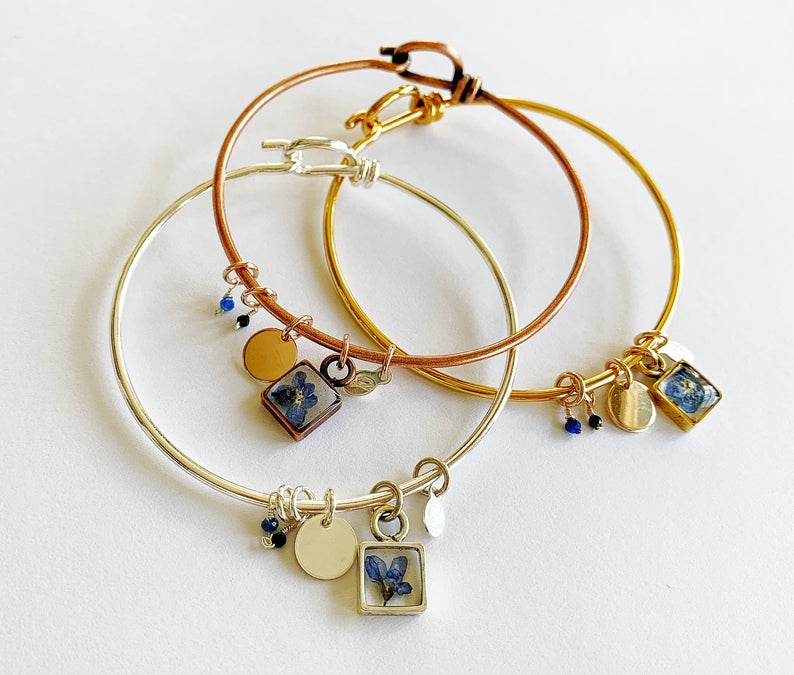 Forget-Me-Not Bangle Bracelet