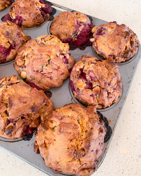 Raspberry and white chocolate muffins - back to school snack ideas