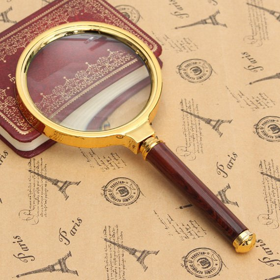 Handheld Golden Frame and Red Handle 10X Magnifying Glass