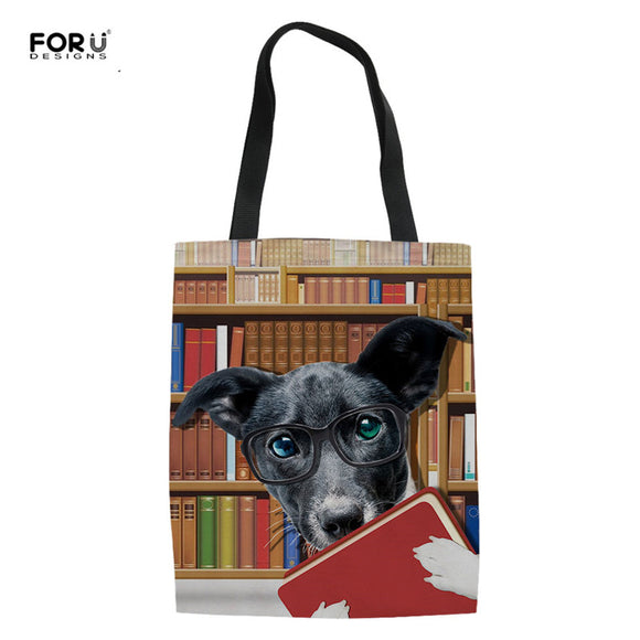 3D Dog and Cat Linen Tote Bags