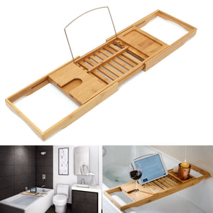 Adjustable Perforated Bamboo Bathtub Tray with Book Holder